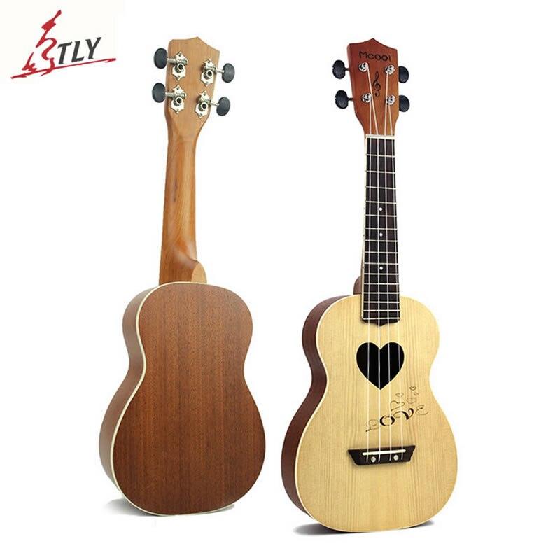 Mcool 23 pouces Concert épicéa palissandre touche Ukelele Ukulele 4 cordes Hawaii Mini guitare Uke en forme de coeur ton trou