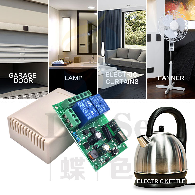 Remote Control 433Mhz AC85v 220V 2CH rf Relay Receiver for garage door Light LED Fanner motor Signal transmission in Remote Controls from Consumer Electronics