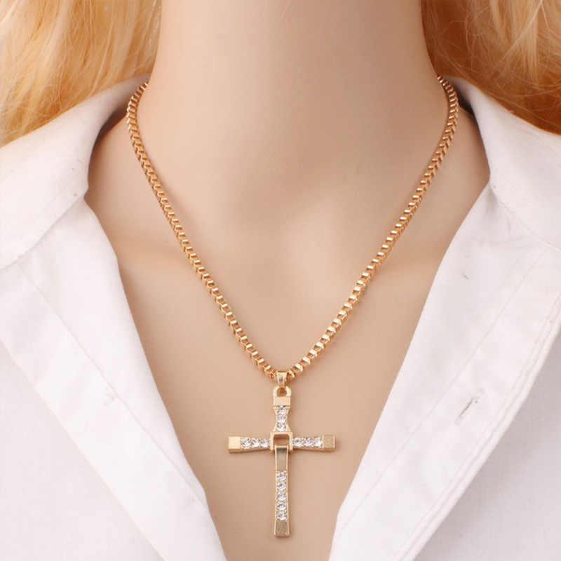 Hip Hop stop wisior z krzyżem w kolorze złotym naszyjnik religijne Iced Out Rhinestone krucyfiks naszyjnik biżuteria dla mężczyzn darmowy łańcuch kubański