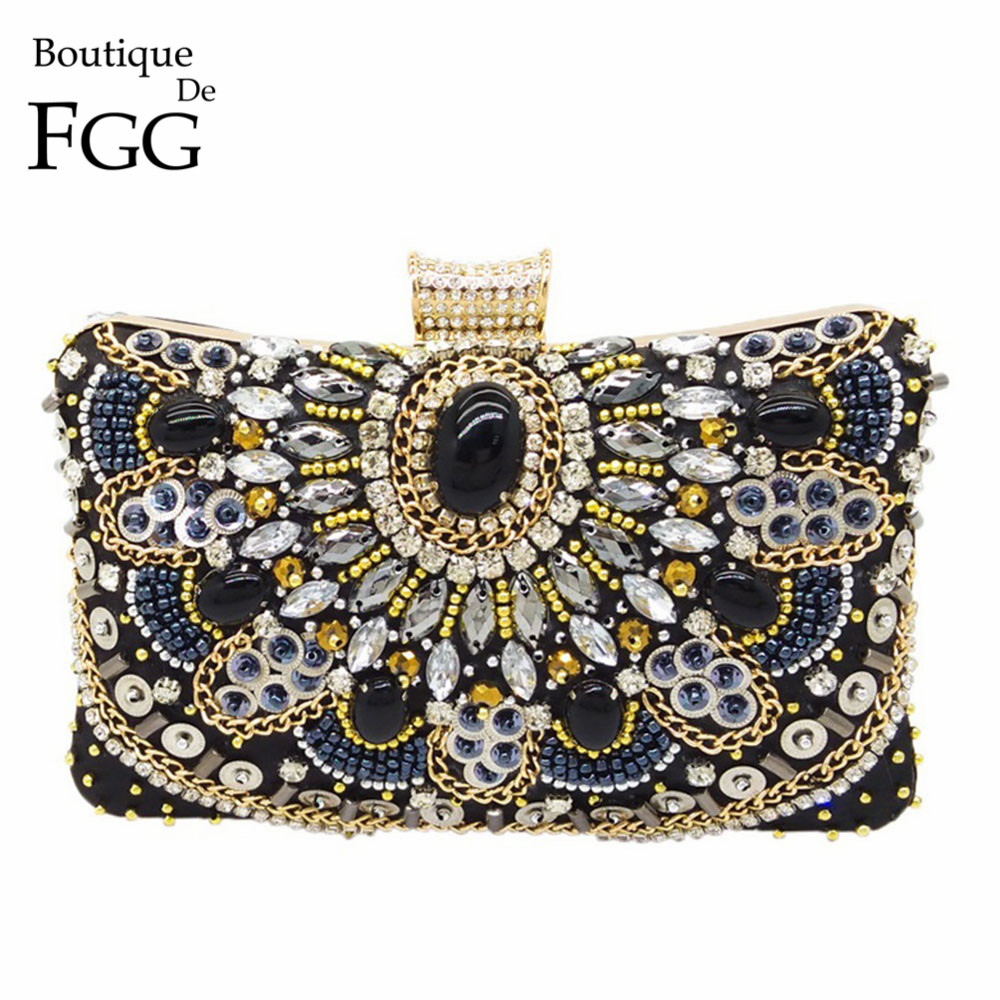 Boutique De FGG Vintage Women Black Beaded Evening Clutch Bags Ladies Box Metal Clutches Wedding Cocktail Party Handbags Purses(China)