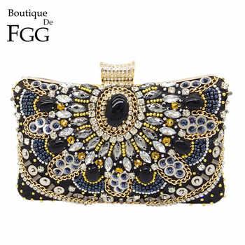 Boutique De FGG Vintage Women Black Beaded Evening Clutch Bags Ladies Box Metal Clutches Wedding Cocktail Party Handbags Purses - DISCOUNT ITEM  25% OFF All Category