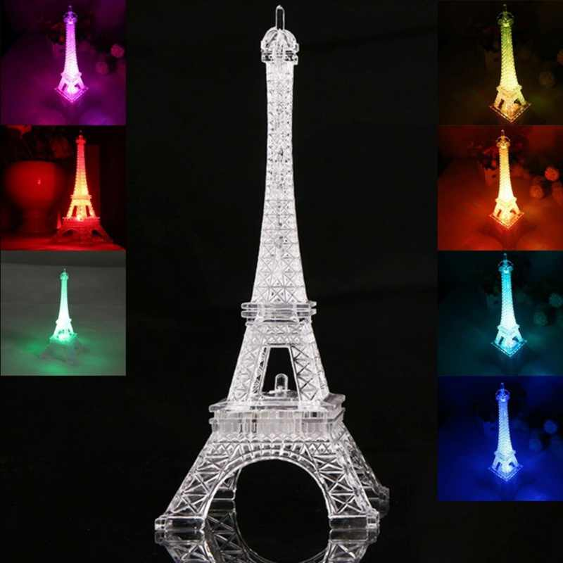 2018 Creative 3D Romantic France Eiffel Tower/Paris Tower LED Night Light RGB Bedroom Table Lamp Kids Family decoration