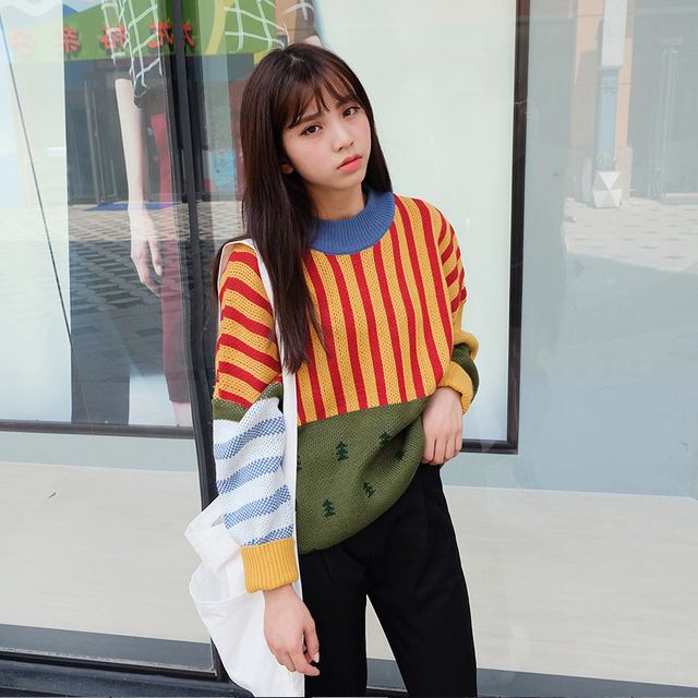 2018 New Winter Fashion Vintage Hit Color Sweater 1