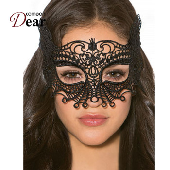 Comeondear Sex Product For Women Black Lace Eye Mask Hollow Out Halloween Cosplay Sex Mask Blindfold Blinder Bdsm 1PC CA80608 1