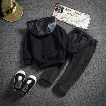 New fashion autumn winter baby boy clothing letter print baby clothes set PU jacket+pant 2 pcs for 0-5 years  boy clothing