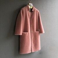 2018 new natural sheep fur shearling coat women Merino Sheep Fur Wool jacket ladies winter Thick outwear stand collar garment