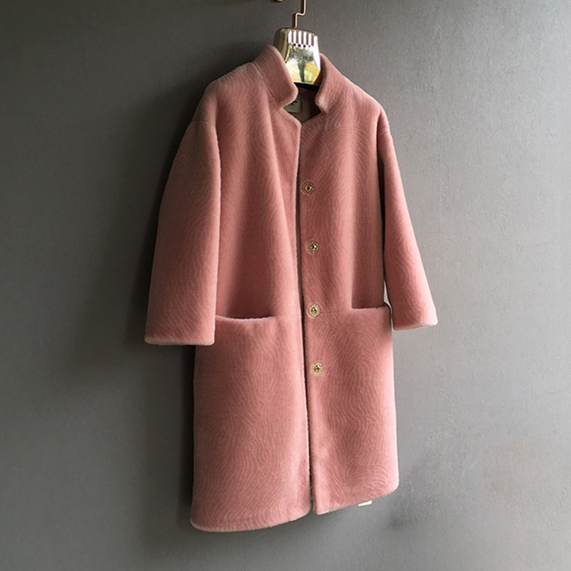 black Femmes Nouveau Fourrure Pink Moutons Naturel En Veste Épais Mérinos D'hiver Dames Mouton Stand wine Manteau red beige 2018 Pink Vêtement Col Outwear Peau multi gray De Laine BzwCdCq