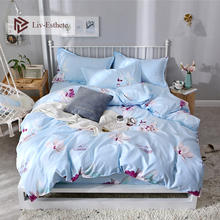 Liv-Esthete Love Flower Light Blue Bedding Set High Quality Soft Duvet Cover Pillowcase Decor Bed Linen Fitted Sheet Bedspread