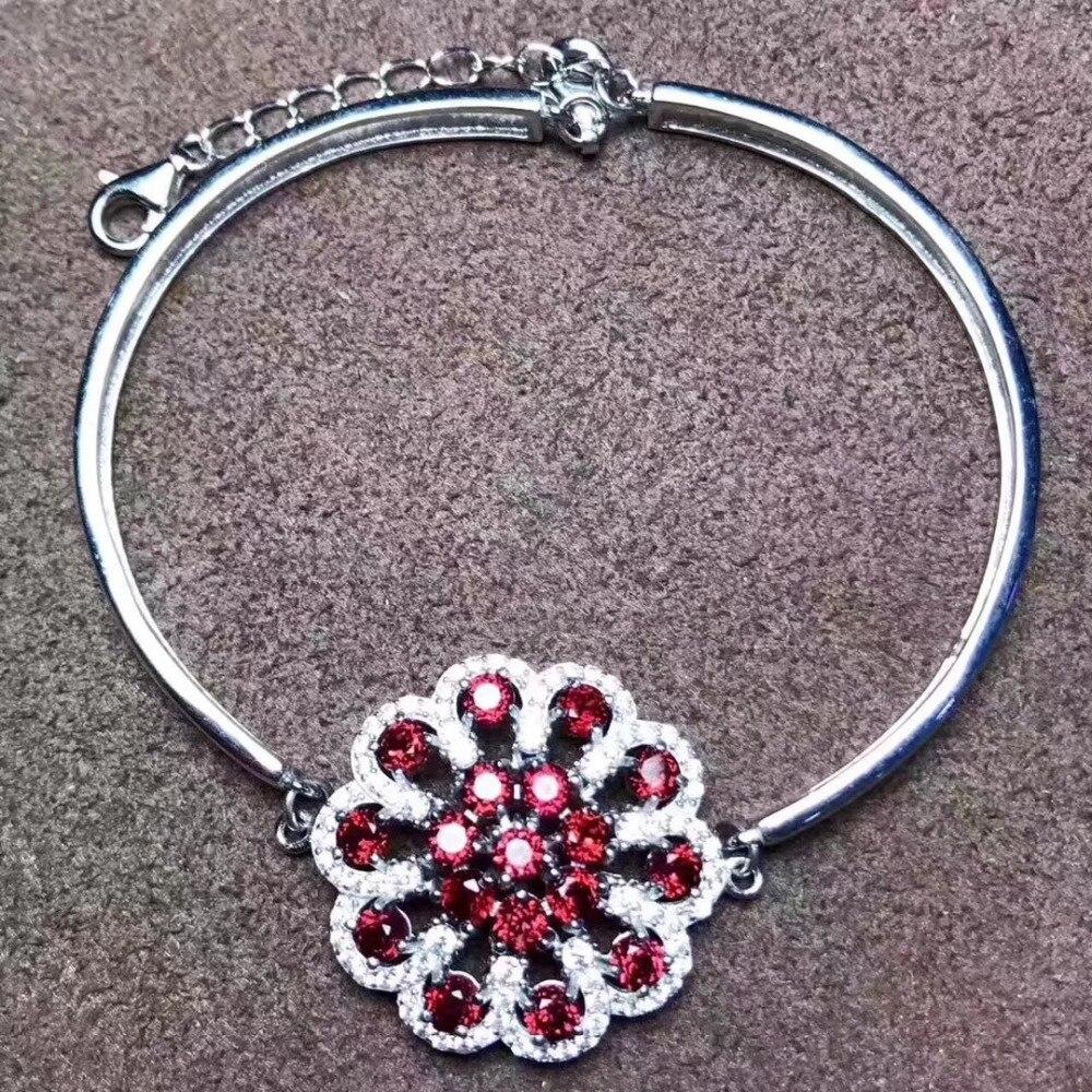 natural red garnet grace Round flower Hydrangea chain Bracelet Natural gemstone bracelet S925 silver women wedding fine jewelry hydrangea flower cloth art
