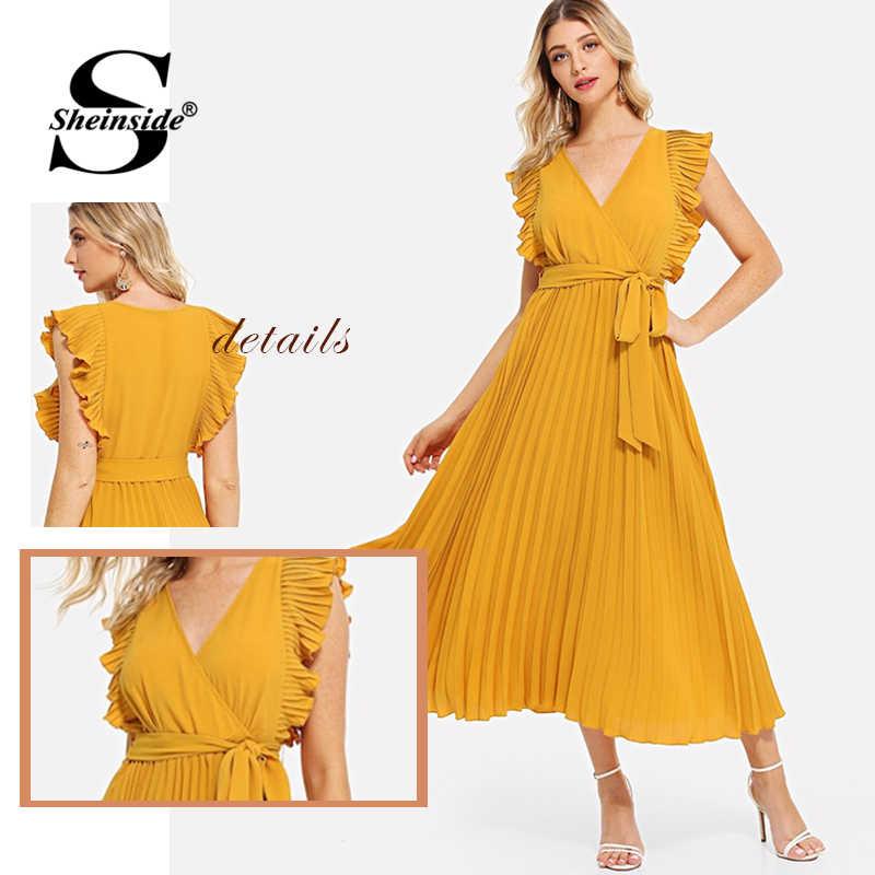Sheinside элегантное Плиссированное шифоновое платье с высокой талией для женщин 2019, однотонное вечернее платье трапециевидной формы, летнее Повседневное платье с v-образным вырезом и поясом