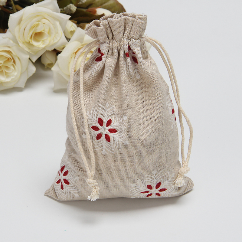 Snowflake Linen Gift Bag 9x15cm 12x18cm Pack Of 50 Birthday Party Wedding Candy Packaging Pouch