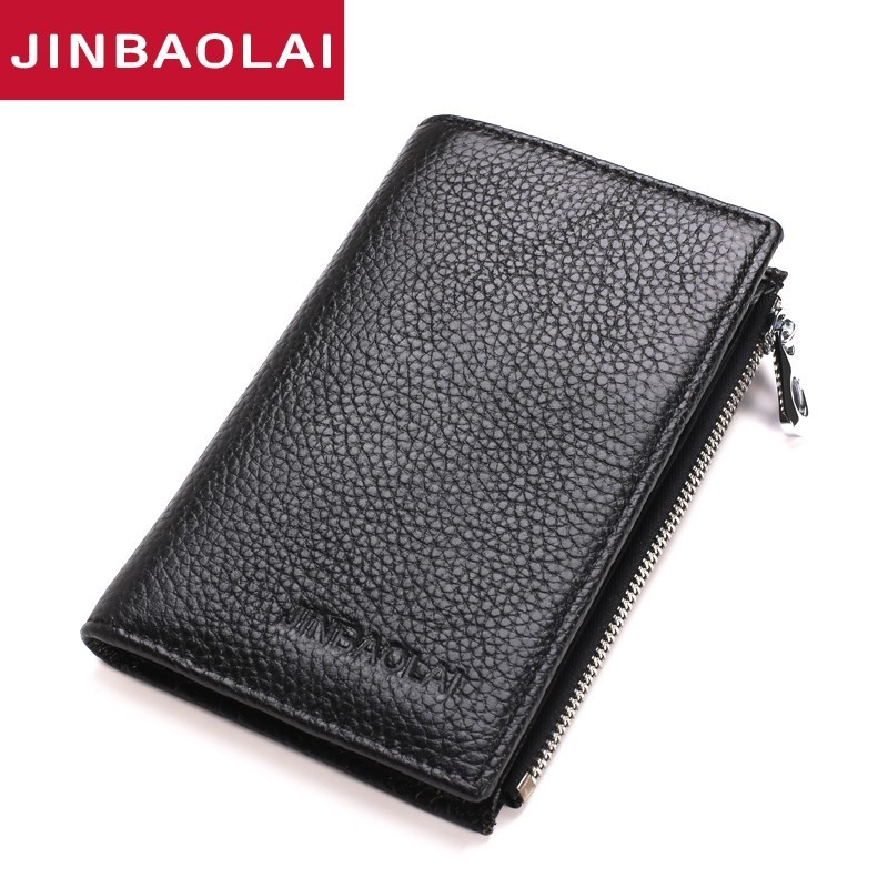 Cow Leather Business Card Wallet Zipper