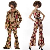 Halloween Party Retro 60s 70s Man Women Disco Costume Singer Plaid Cosplay Fantasia Fancy Dress