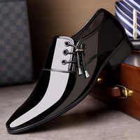 luxury Brand Men Classic Pointed Toe Dress Shoes Mens Slip-on Patent Leather Black Wedding Shoes Mens Oxford Formal Shoes