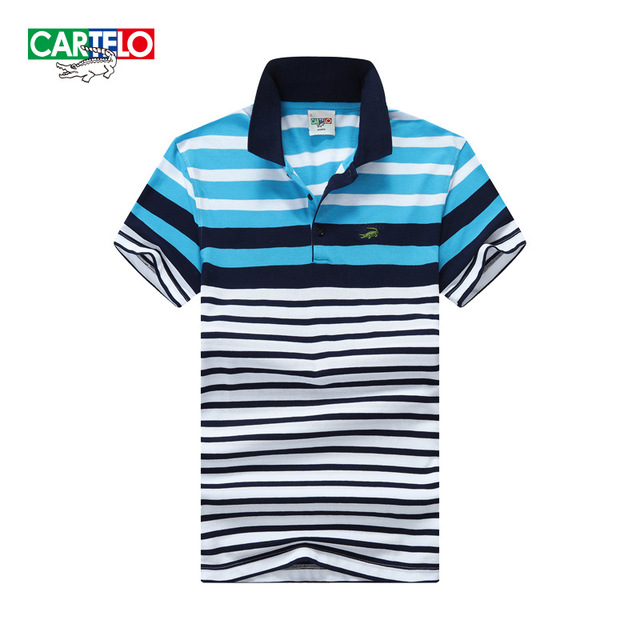 cartelo brand 2016 summer new men's fashion Slim classic striped cotton short-sleeved