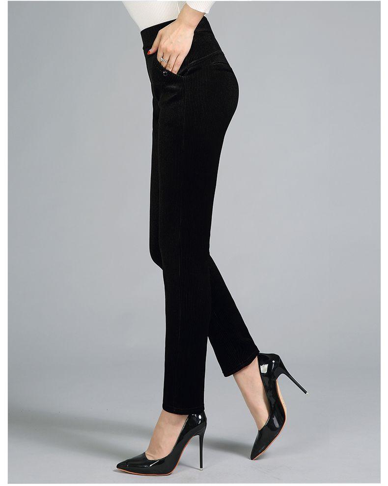 Women Elegant Striped Velvet Pants Slim Fit Corduroy Trousers Woman Red Green Black Blue Pant Bottoming Trouser Lady (22)