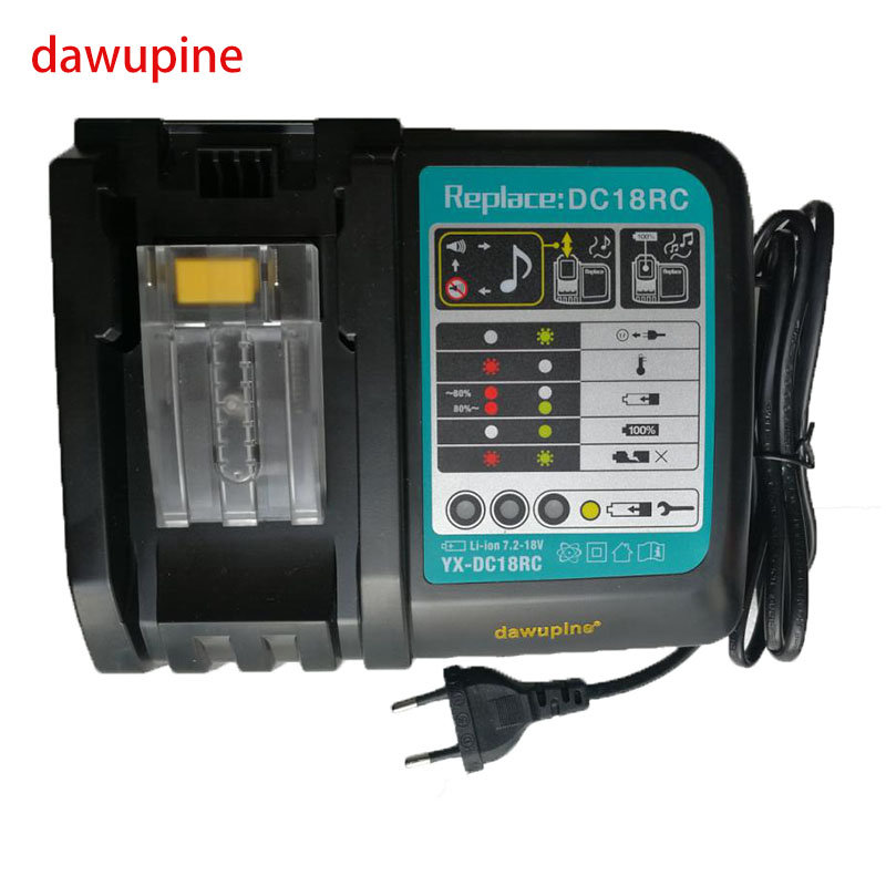 dawupine DC18RCT Li-ion Battery Charger for Makita 14.4V 18V Battery BL1830 Bl1430 DC18RC DC18RA Replacement Power tool Charger 1 pc li ion battery replacement charger for bosch 10 8v 12v bc430 bat411 bat412 bat413 cordless tool battery vhk20 t30