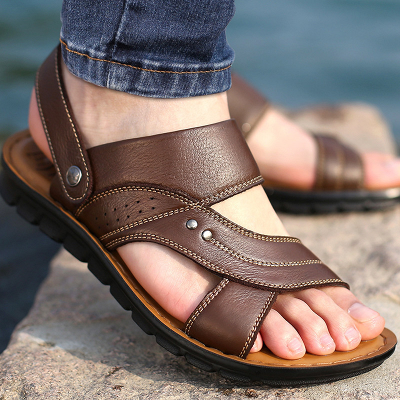 Beach shoes ankle-wrap male sandals casual flip flops split leather man sandals massage confortable adult male tennis