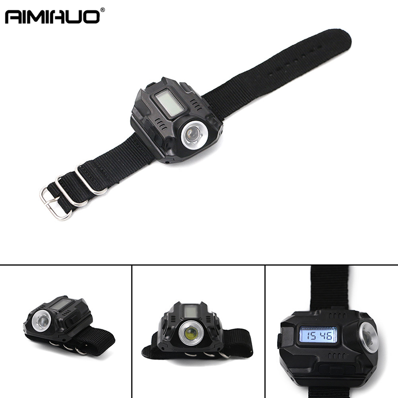AIMIHUO Mini Flashlight wrist lamp hand-wearing light Flashlight with display electronic Torch watch Lamp function watch light