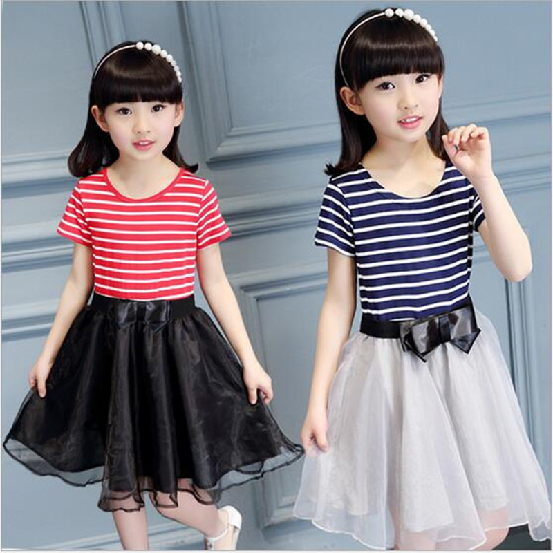 e50c6a96ceb 2017 New Arrival Baby Girls Summer Dresses O-Neck Striped School Dresses  Kids Princess Bow