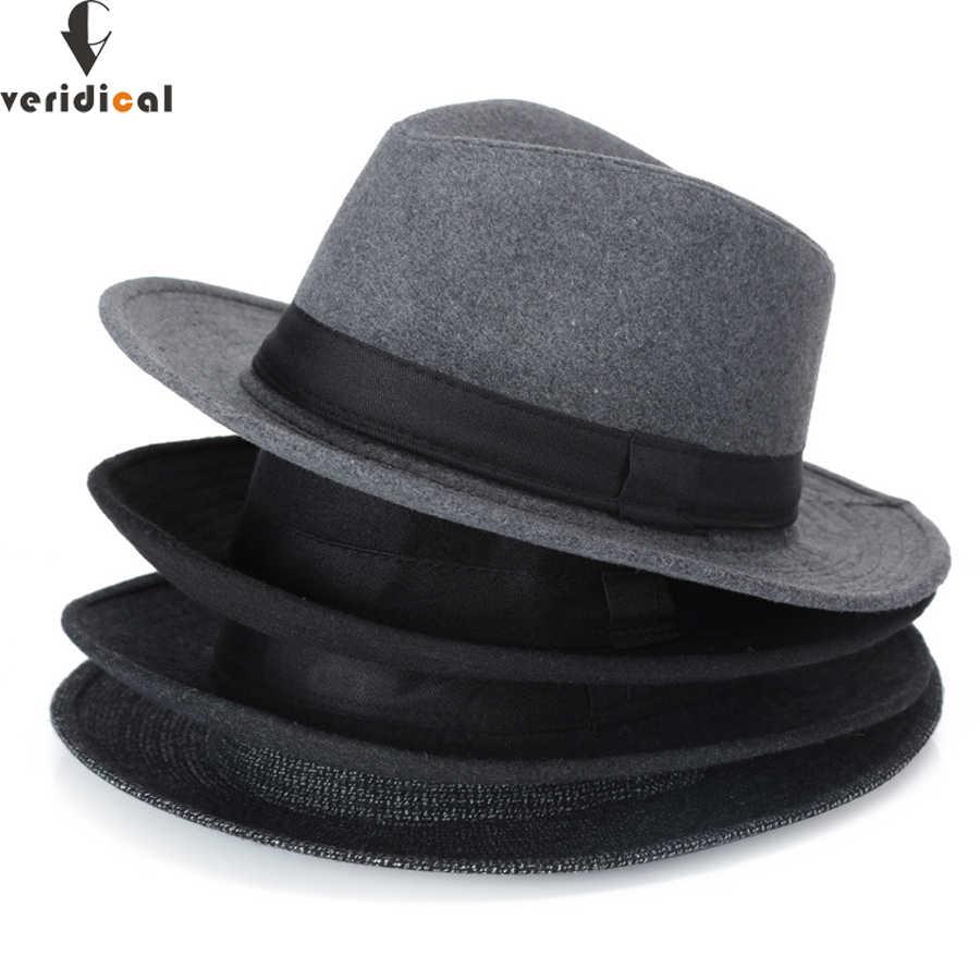 Veridical 2018 Otoño Invierno Sol sombrero mujeres hombres Fedora sombrero  clásico ala ancha Fieltro Floppy Cloche a8448443560