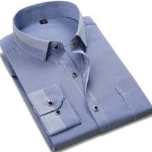 Fashion 2017 Spring male Casual Shirts tops Striped plaid twill long sleeve TurnDown collar formal men business dress shirts