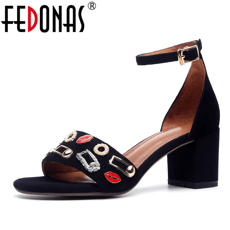 FEDONAS 2018 New Summer Women Suede Shoes Sexy High Heels Fashion Buckle Party Pumps Woman Sandals Comfort Black Wedding Shoes fedonas new women gladiator sandals wedges high heel fashion ladies glitters wedding party shoes woman platforms summer sandals