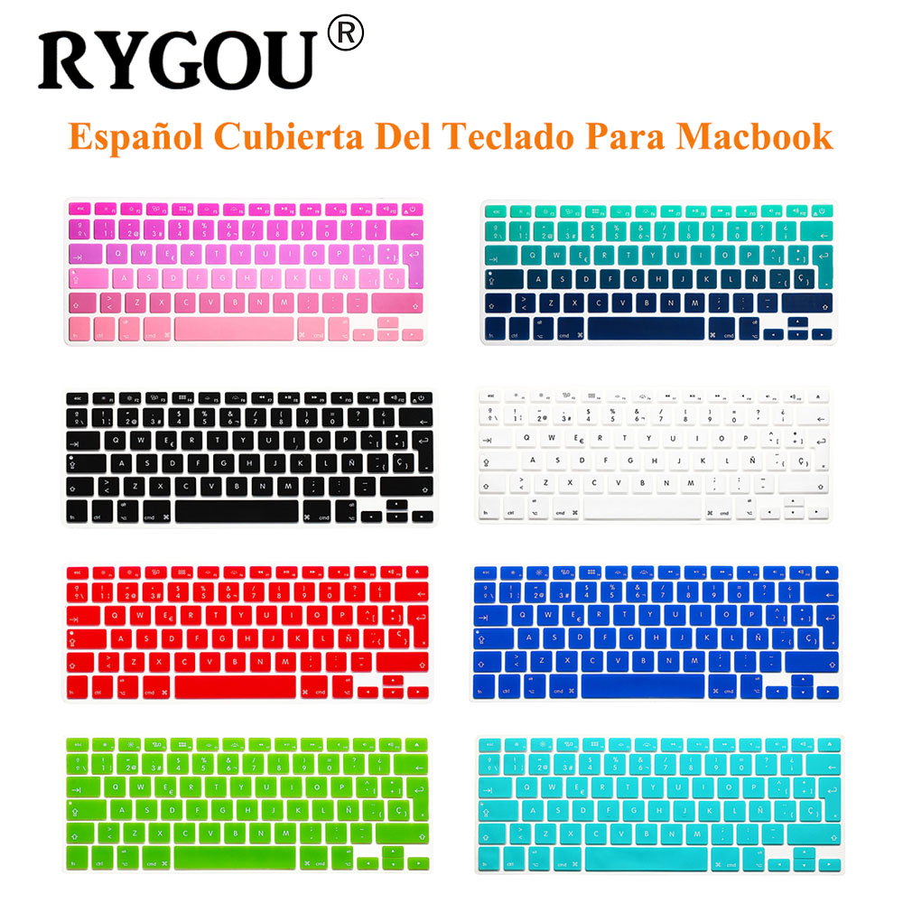 RYGOU EU UK Spanish Letters Keyboard Cover For Macbook Air Pro Retina 13 15 Laptop Protective Film Stickers for Mac book 13