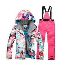 Camouflage High quality Warm dress Women Skiing Clothing Waterproof Snowboarding suit sets Jackets Bib Pants Snow