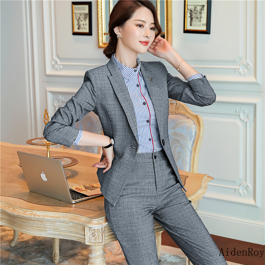 Spring Autumn High Quality Pant Suits For Women Work Office Ladies Formal Business Wear Blue Pink Luxury Brand Blazer Pants Set Pant Suits Suits & Sets