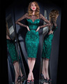 Joky Quaon Sexy Open Back Knee-Length Long Sleeve Lace Cocktail Party Dresses Gown Girl With Green Satin Straight Slim Up 2017