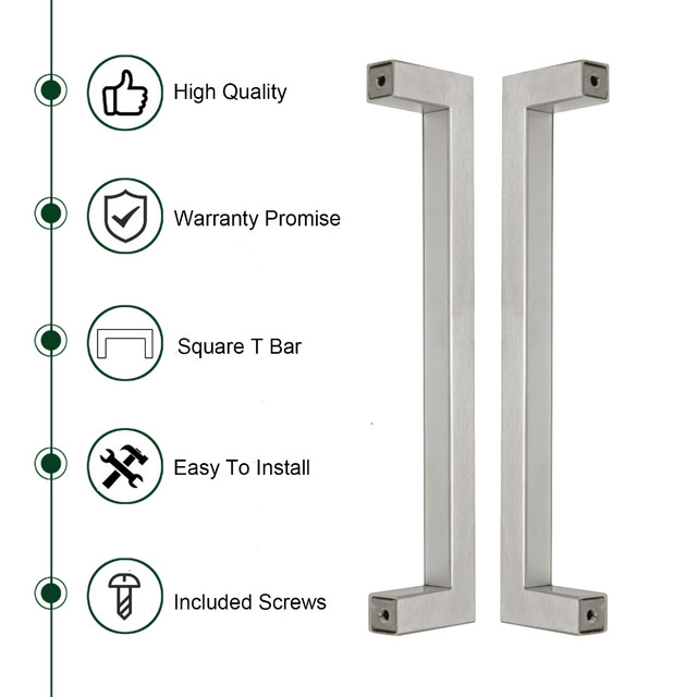 Probrico Square Bar Cabinet Handle 12mm*12mm Stainless Steel Hole Space 96mm~320mm Kitchen Door Knob Drawer Pull PDDJ27HSS