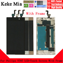 Keke Mia 5.0 inch For Philips V787 LCD Display+Touch Screen Digitizer Assembly With Frame Replacement Philips Xenium V787 free shipping original lcd touch screen assembly for philips v787 ctv787 cellphone xenium mobile phone