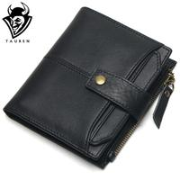 100 Genuine Leather Men Wallets Short Coin Purse Small Vintage Wallet Cowhide Leather Card Holder Pocket