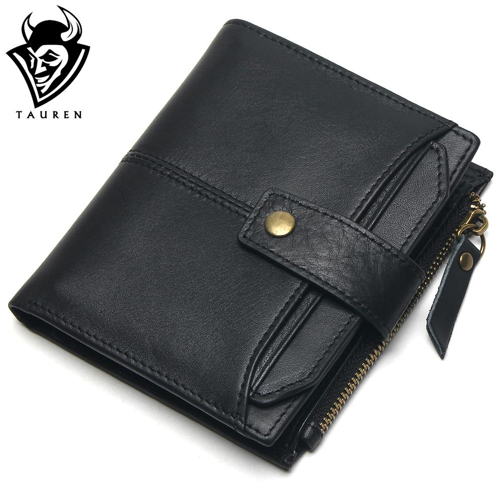 100% Genuine Leather Men Wallets Short Coin Purse Small Vintage Wallet Cowhide Leather Card Holder Pocket Purse Men Wallets dalfr genuine leather mens wallets card holder male short wallet 6 inch cowhide vintage style coin purse small wallet