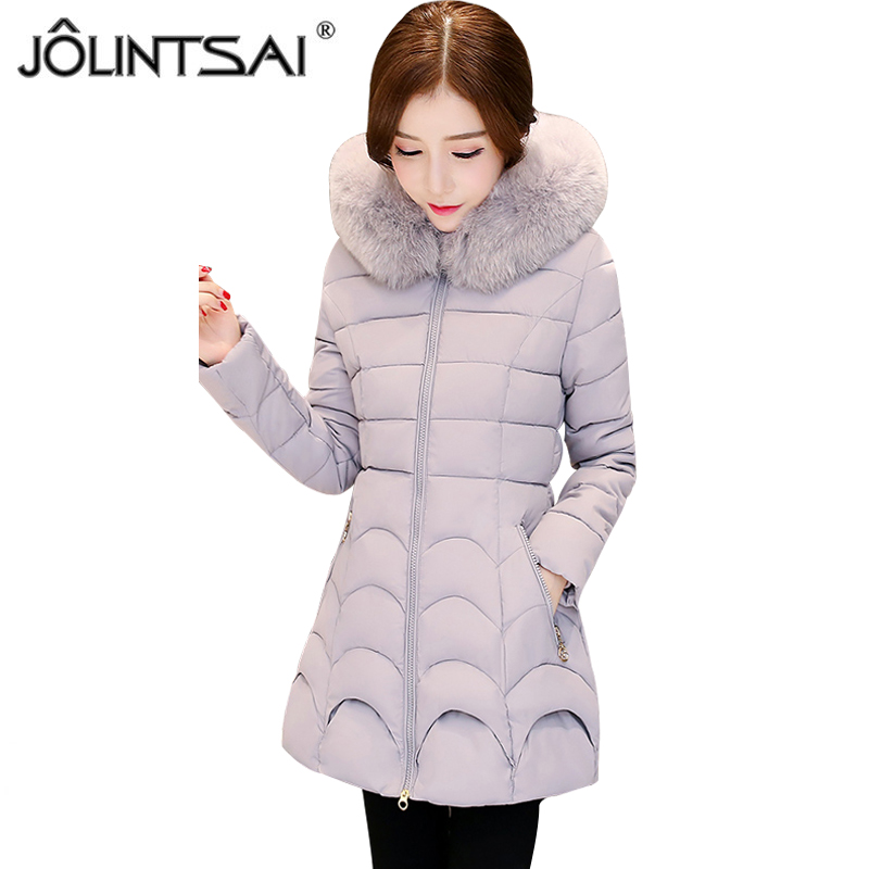 JOLINTSAI 2017 New Winter Jacket Women Hooded Slim Womens Winter Jackets Coats Outwear Long Coat Female Cotton Parkas new winter light down cotton coat women long design hooded jackets casual slim warm jacket coats parkas female outwear qh0454
