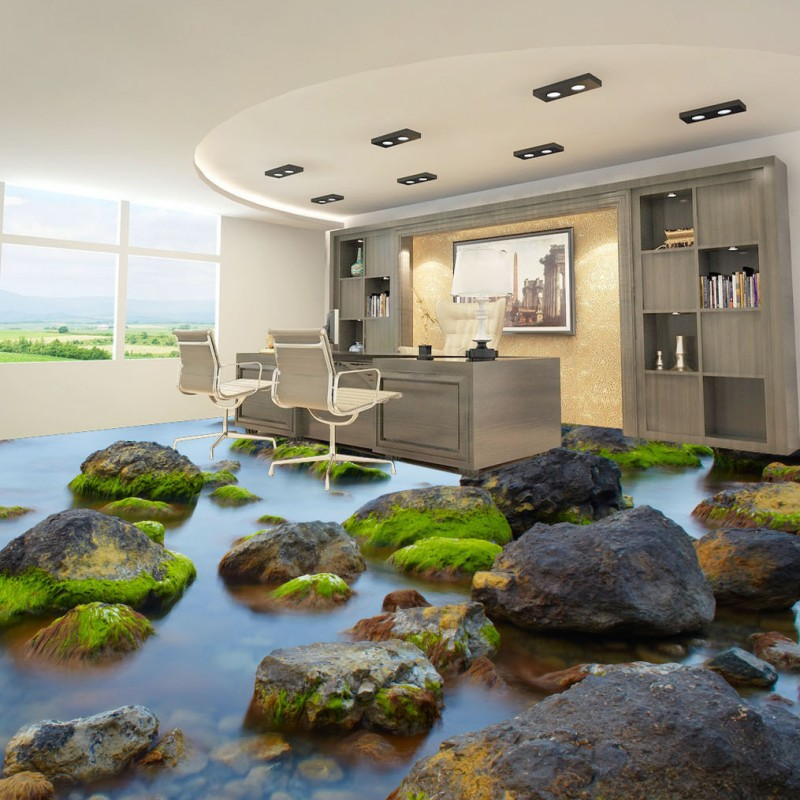 Free Shipping Marine shoal stone moss 3d living room bathroom floor thickened non-slip bedroom coffee house flooring mural free shipping clear blue waves swan lake 3d floor thickened waterproof bathroom living room bedroom lobby flooring mural