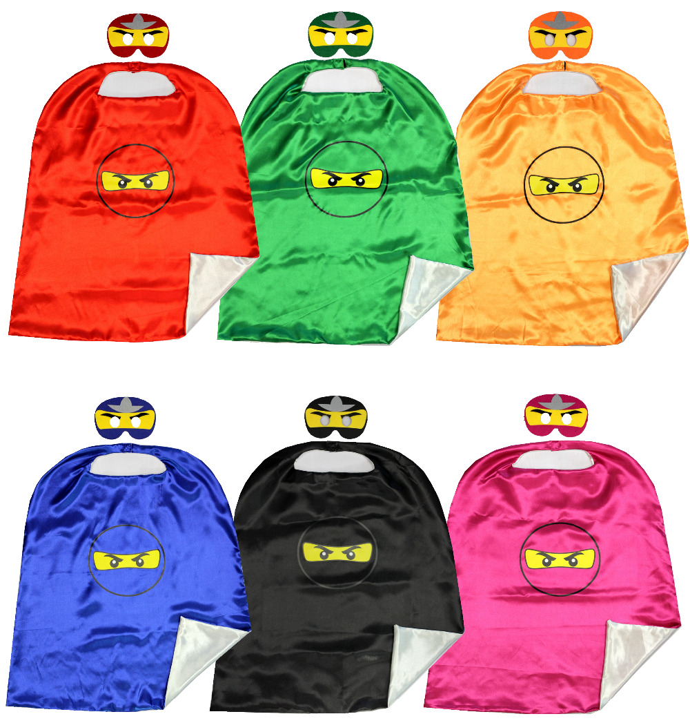70*80cm 2layer Ninja Capes matching masks Pretend Play Ninja go BirthdayParty Favor Inspired Dress Up Capes + Masks