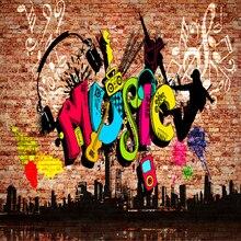 Custom 3D Wall Murals City Music Art Graffiti Brick Wall