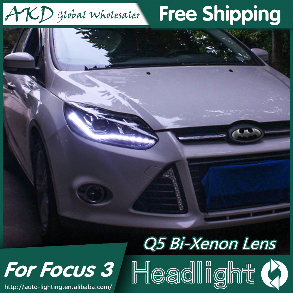 AKD Car Styling for Ford Focus 3 LED Headlights 2012 New Focus LED Headlight DRL Bi Xenon Lens High Low Beam Parking Fog Lamp union car styling for ford fusion headlights 2013 2015 new fusion led headlight original drl bi xenon lens high low beam parking