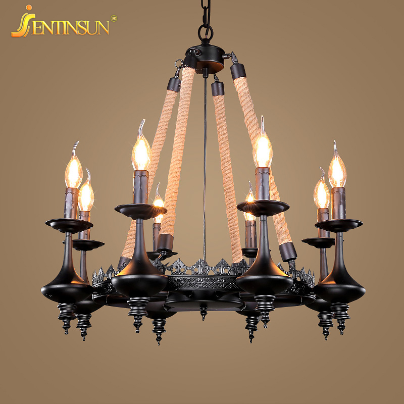 Hemp Rope Pendant Light Creative American Retro Industry LED Iron Candle Hanging Lights Restaurant Living Room Home Decoration