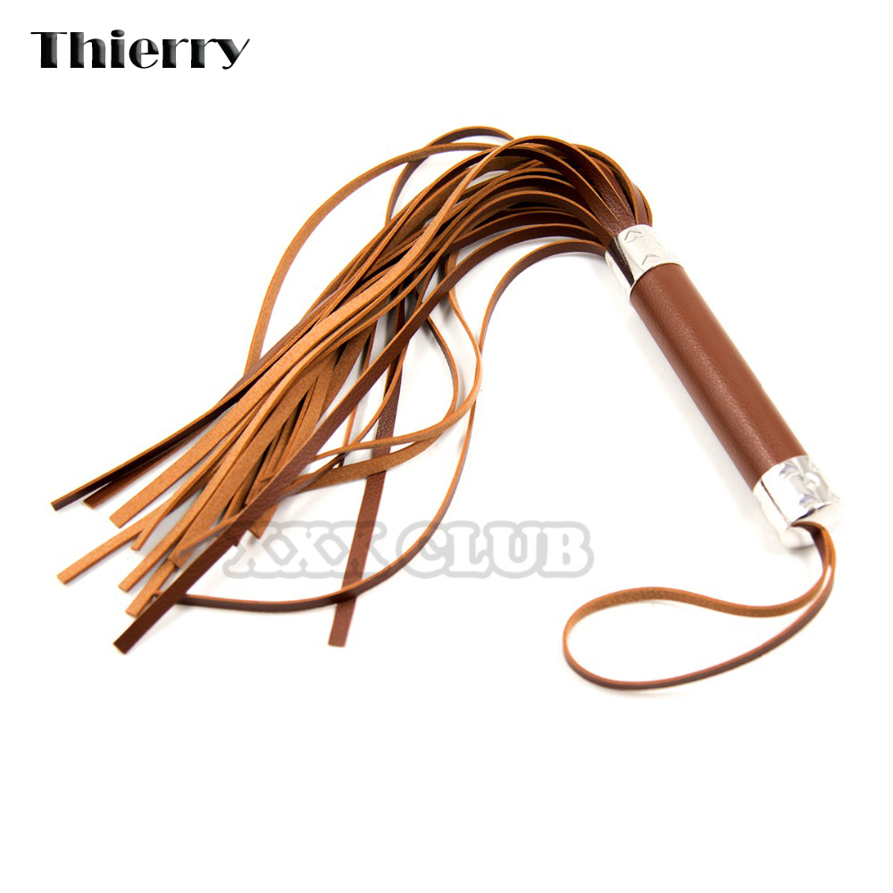 Thierry Leather Flirting Horse Whip Flogger Spanking Bondage Whip Slave Sex Toys For Couples Stimulation Adult sex tamed Game