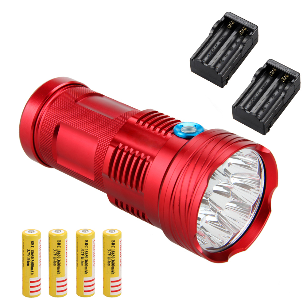 SKYRAY 20000Lm 9x XML T6 LED Flashlight Torch Camping Hunting 4x18650 Battery+2xCharger фонарик skyray 14 x t6 led 500 sy146