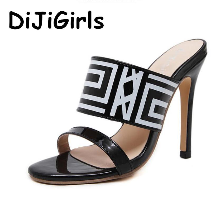 купить DiJiGirls Summer Women Sandals Fashion Geometric Totem Classic Slingback High Heel Slippers Slingback Mules Party Wedding Shoes недорого