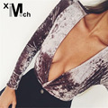 Women Fashion Sexy Velvet Bodysuits Cross over Deep V-neck Long-Sleeve Back Zipper Stretch Velour Slim Bodysuits JM11839CT