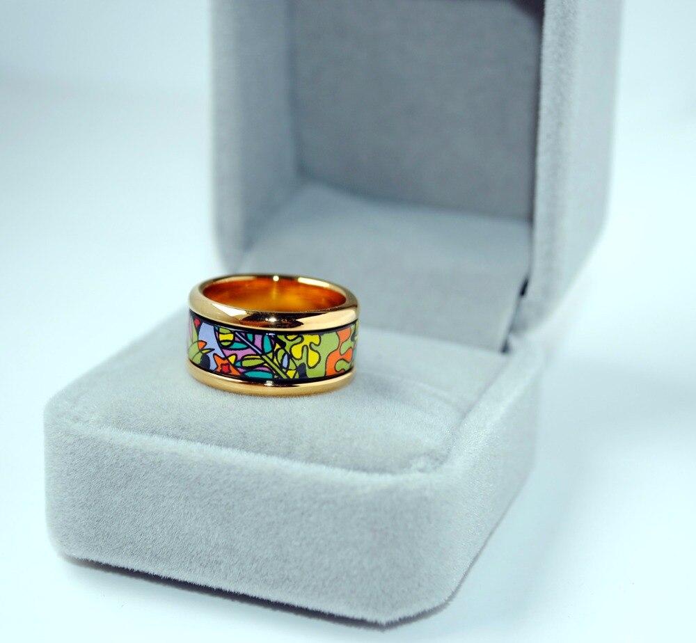 Anneaux en or plaqués de bijoux de mode circulaires en émail cloisonné