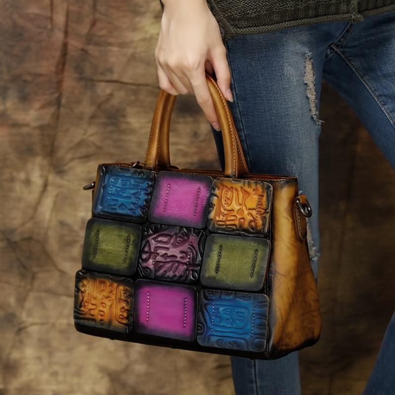 2019 Handmade Retro Women Handbag Cowhide Leather Top Handle Panelled Bag Ladies Shoulder Sling Bags Embossed