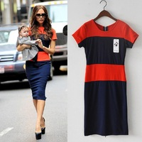 2015 Summerwomen Fahion Victoria Beckhams The Same Paragraph Slim Big Yards Spell Color Patchwork Dress