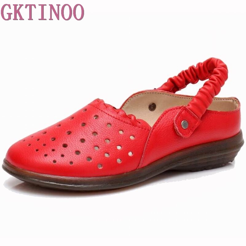 GKTINOO Genuine Leather Women Sandals Hollow Out Slip On Flat Shoes Summer 2018 Retro Handmade Women Sandal Soft tyawkiho women genuine leather sandals summer shoes hollow out slip on leather sandal soft bottom retro handmade flat heels shoe