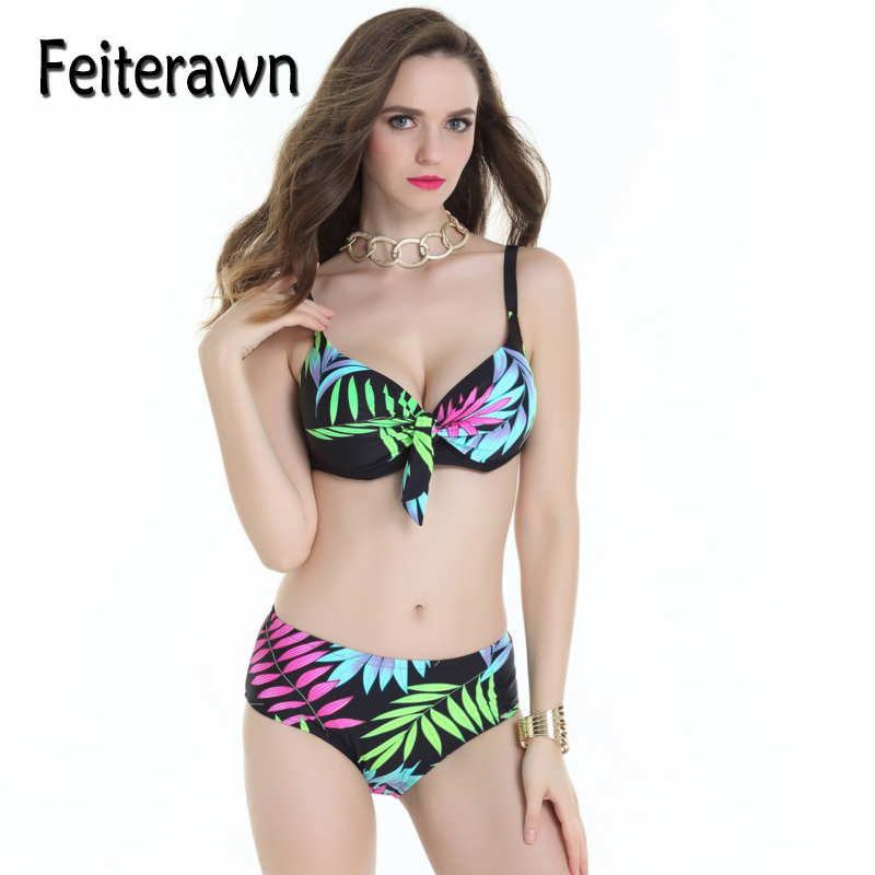 Feiterawn Sexy High Waist Bikini Bandage Swimwear Cut Out Bikini Set Summer Brazilian Floral Print Plus SIze Swimsuit JR17016(China (Mainland))